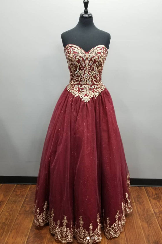 Burgundy sweetheart neck lace tulle long prom dress, burgundy evening dress