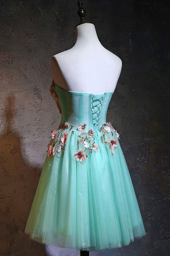 Cute green tulle lace applique short prom dress