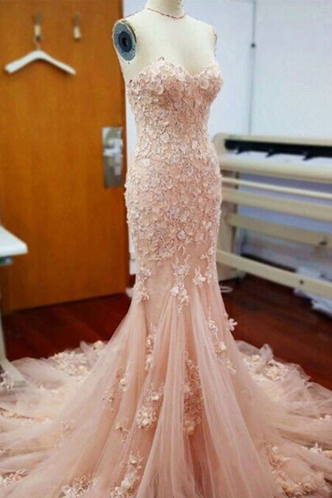 Pink lace tulle mermaid long prom dress, pink evening dress