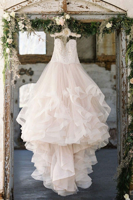 Unique tulle lace long wedding dress, tulle bridal dress