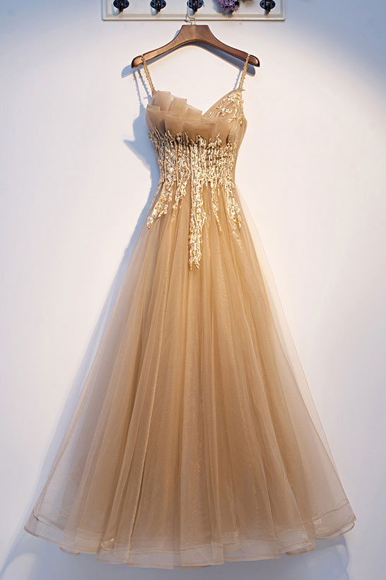 Champagne tulle lace long prom dress tulle lace formal dress