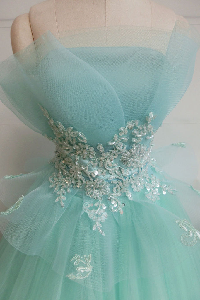 Green tulle lace long prom dress, green tulle evening dress