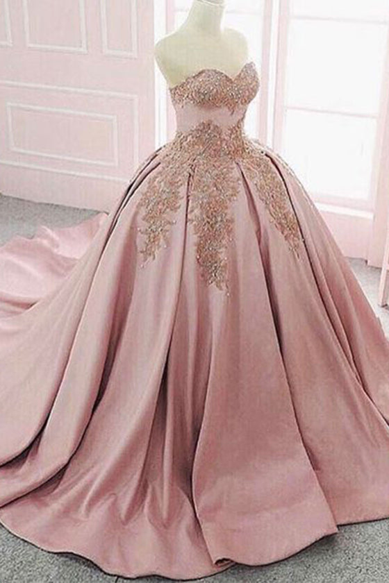 Pink sweetheart neck satin long prom dress, evening dress