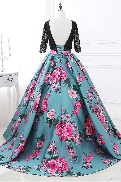 Unique round neck lace satin long prom dress, evening dress