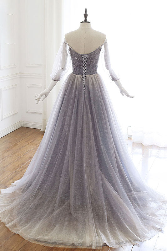 Unique tulle sequin long prom dress, tulle evening dress
