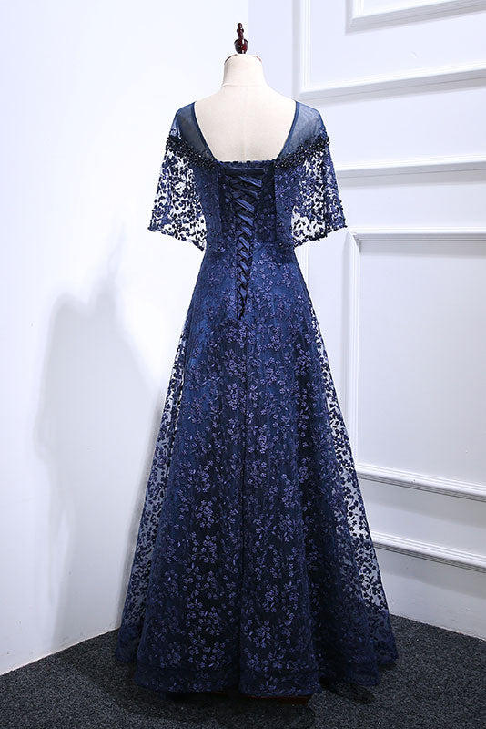 Dark blue lace long prom dress, blue lace evening dress