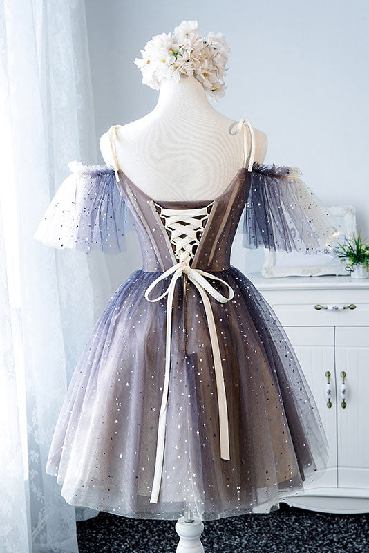 unique tulle short prom dress, tulle homecoming dress