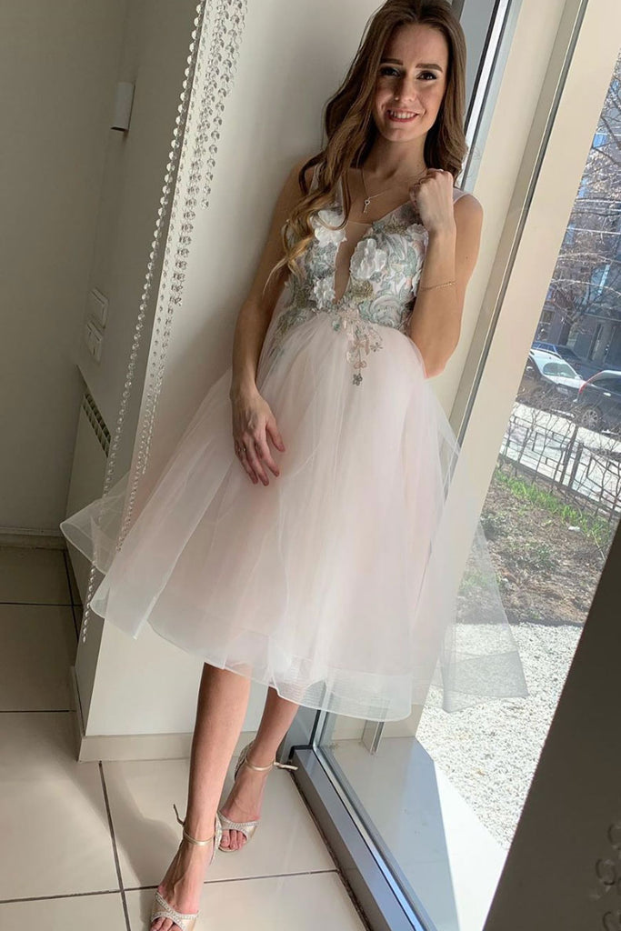 Light pink tulle lace short prom dress pink cocktail dress