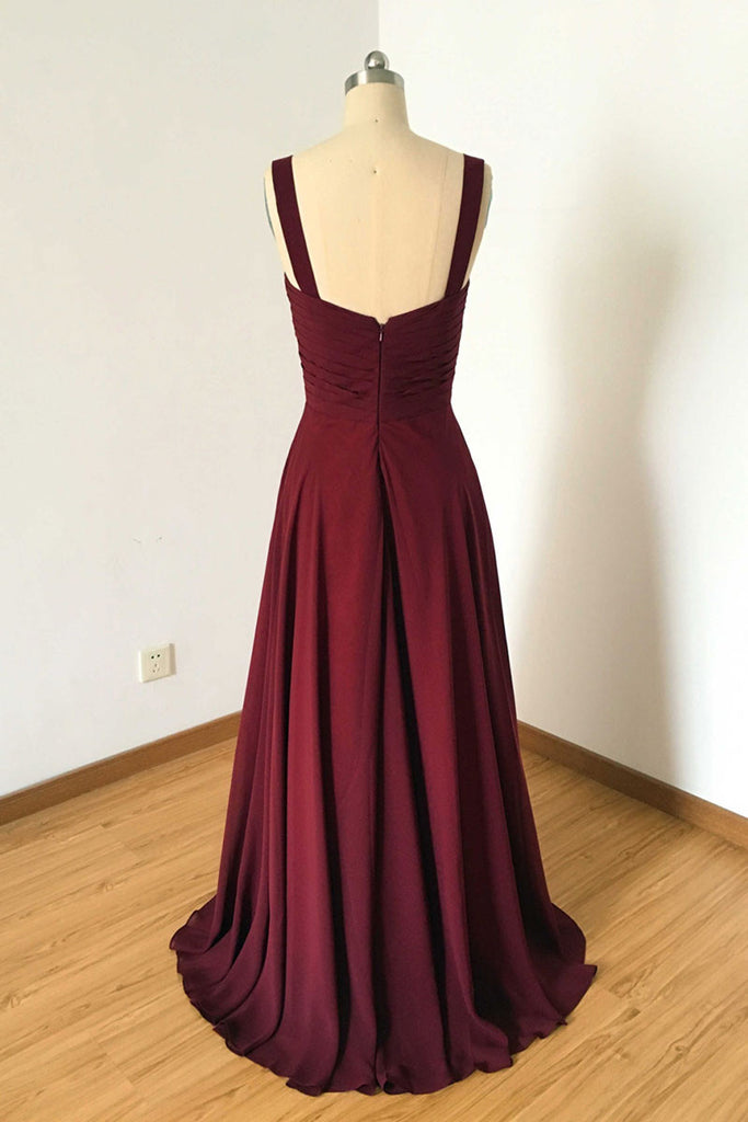 Simple burgundy evening dress, burgundy bridesmaid dress