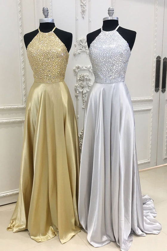 A-line beads satin long prom dress, evening dress