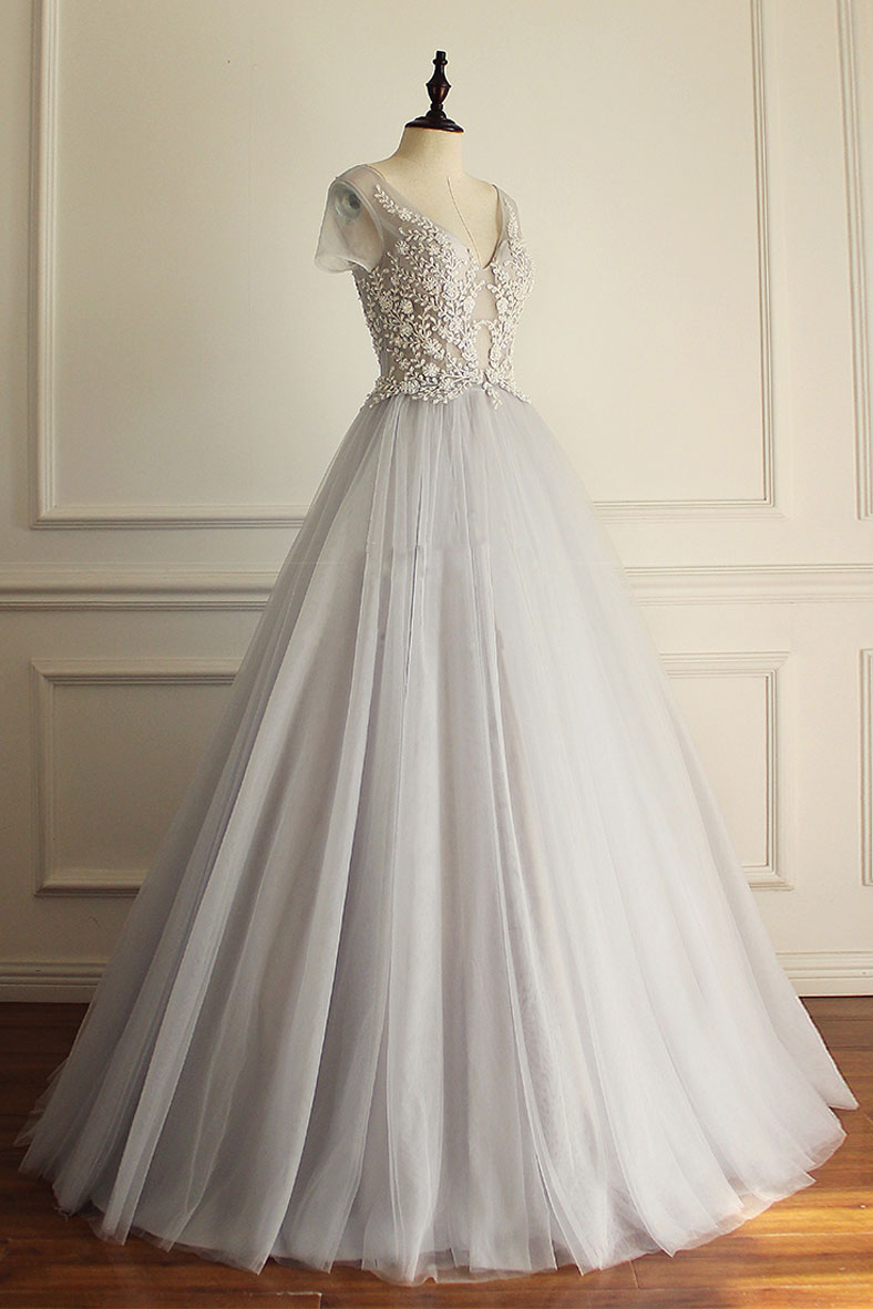 f794ad93f1 Gray v neck tulle lace applique long prom dress