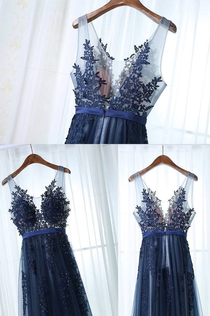Dark blue tulle lace long prom dress, dark blue bridesmaid dress