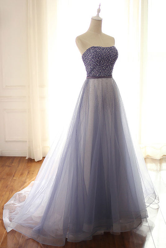 Blue sweetheart tulle beads long prom dress, blue evening dress
