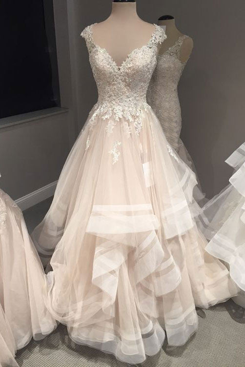 Champagne v neck lace tulle long wedding dress, prom dress