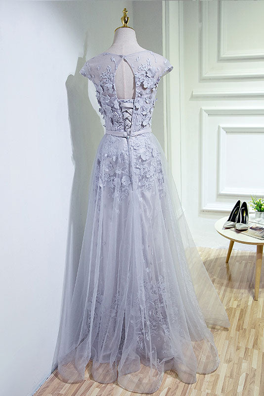 Gray round neck tulle lace applique long prom dresses