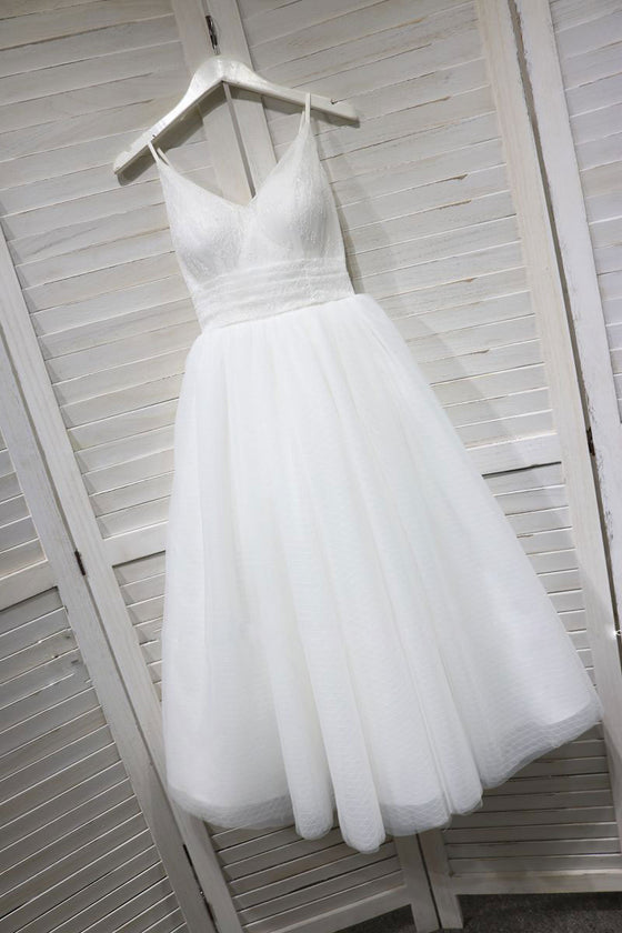 White v neck tulle lace tea  Length prom dress, white bridesmaid dress