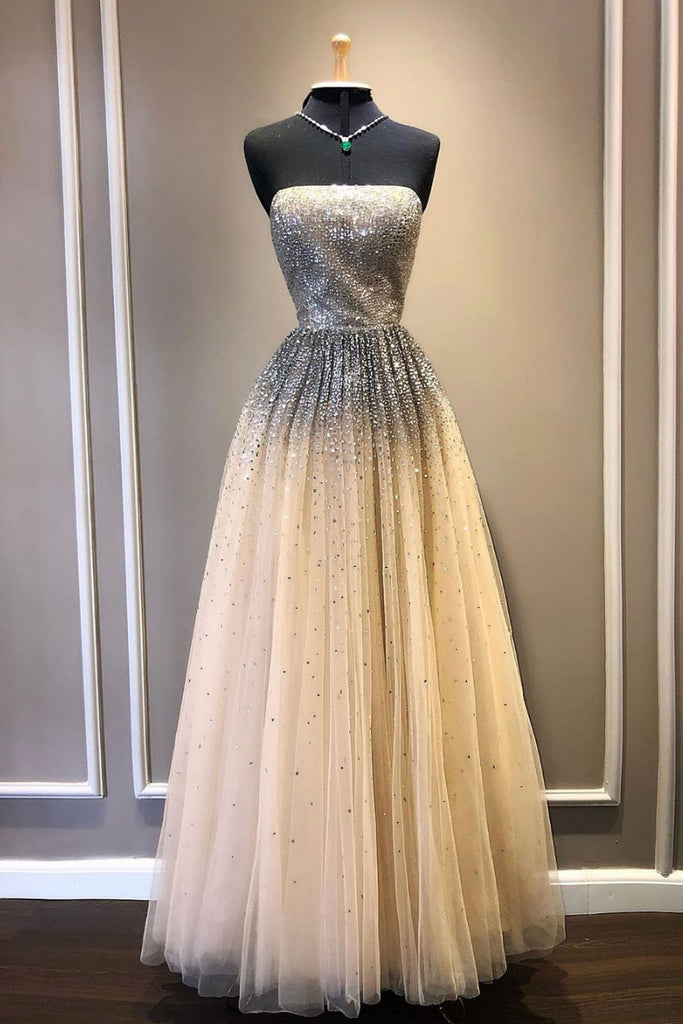Champagne tulle sequin long prom dress, tulle formal dress