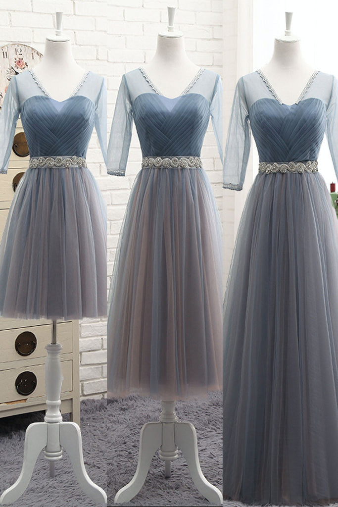 Simple v neck tulle gray blue prom dress, bridesmaid dress