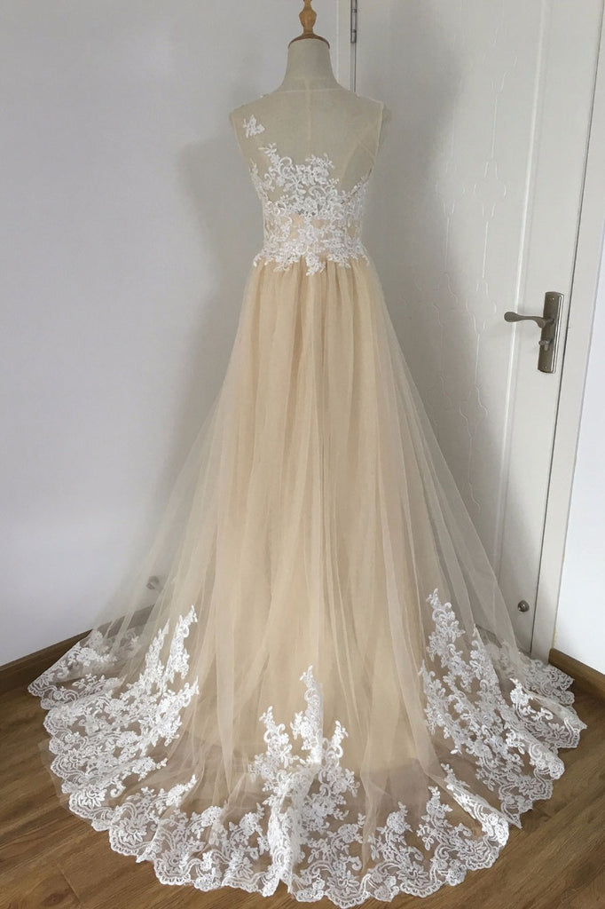 Champagne A-line tulle lace applique long prom dress, wedding dress