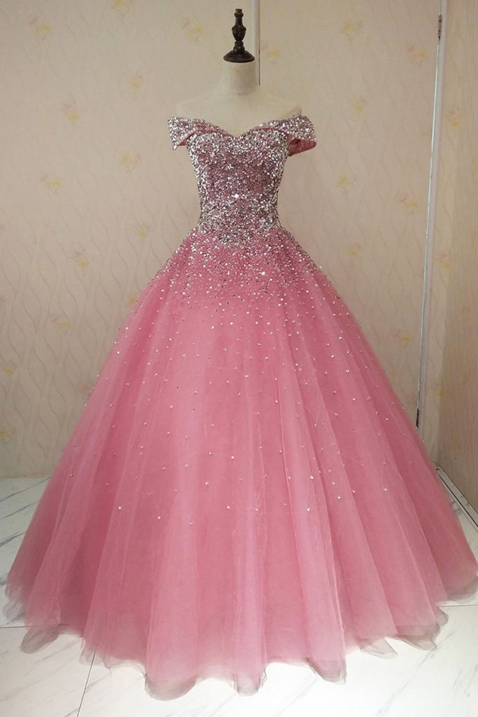 Pink sweetheart tulle sequin long prom dress, pink tulle evening dress
