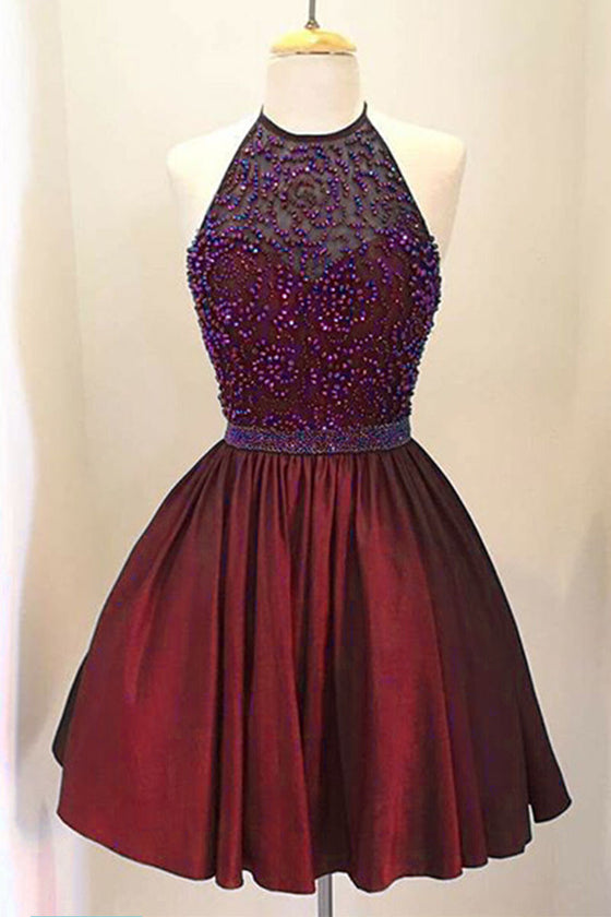 Burgundy beads cute prom dress, burgundy homecoming dress