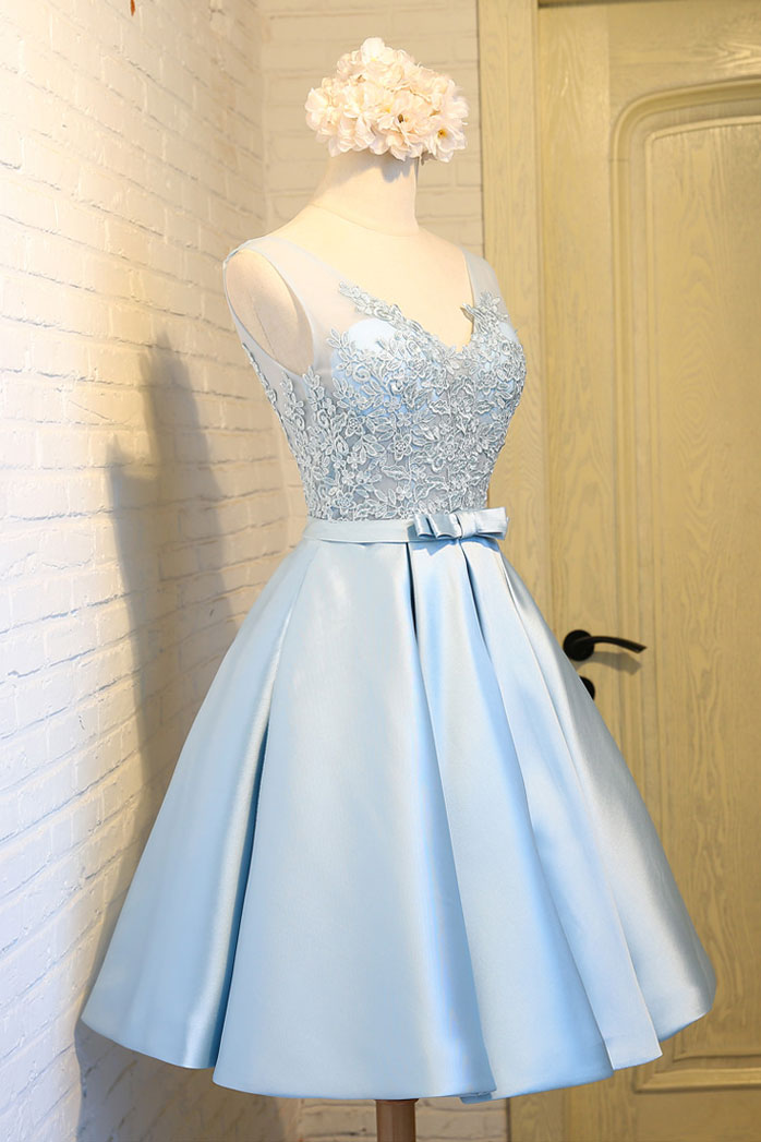 Blue Short Formal Dress with Sleeves
