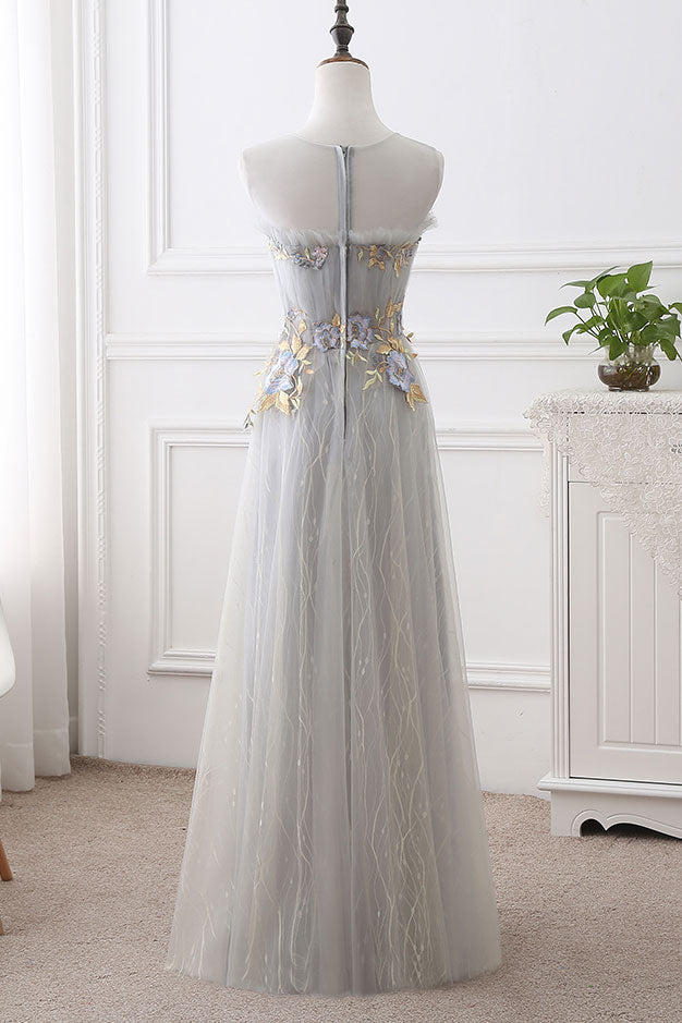 Cute gray round neck tulle long prom dress, evening dress