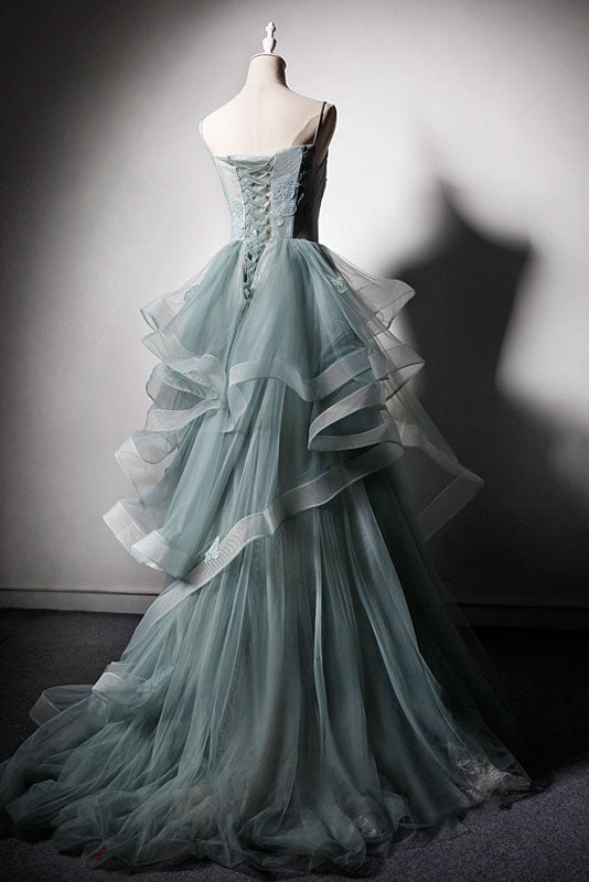 Green tulle lace long prom dress, green evening dress