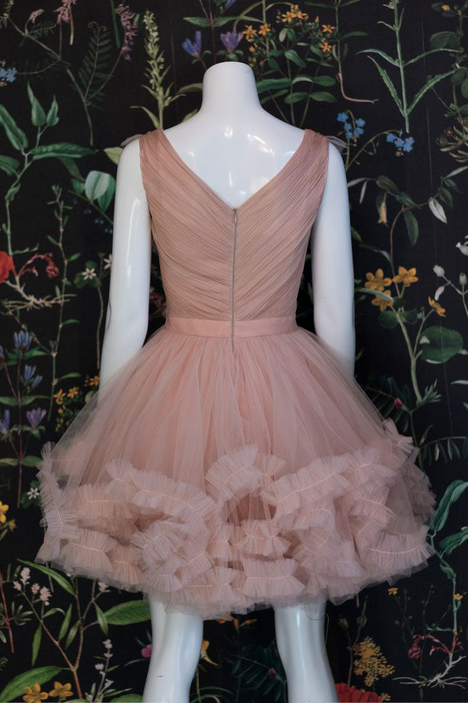 Champagne pink tulle short prom dress, champagne tulle formal dress