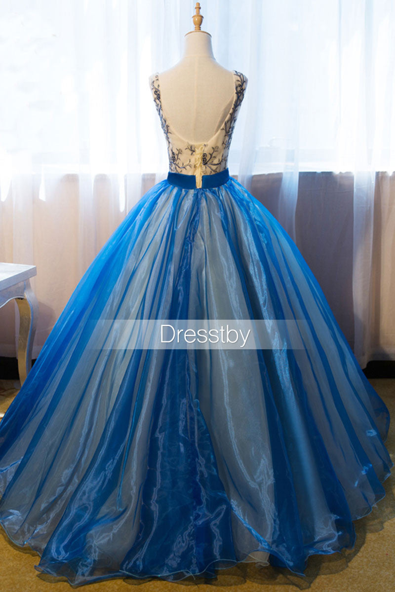 Unique v neck blue embroidery long prom dress, sweet 16 dress - dresstby