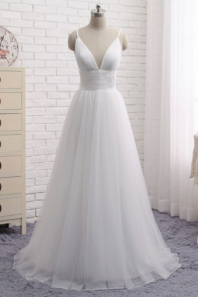 Simple white v neck tulle long prom dress