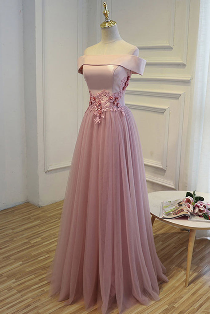 A-line off shoulder tulle long prom dress, tulle bridesmaid dress