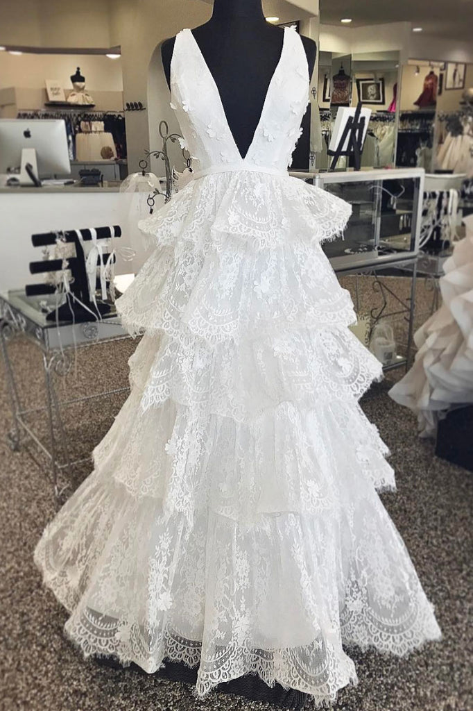 White v neck tulle lace long prom dress, white lace long evening dress