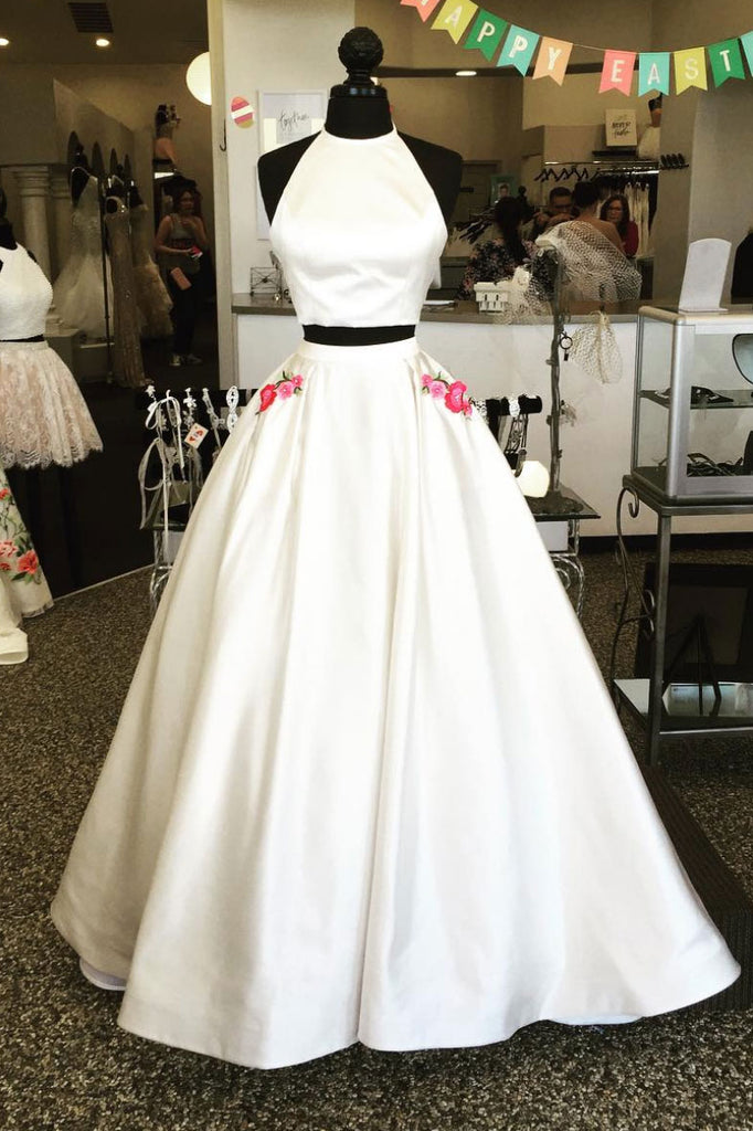 White two pieces satin long prom dress, white long evening dress