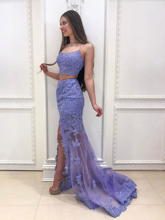 Purple tulle lace long prom dress purple formal dress