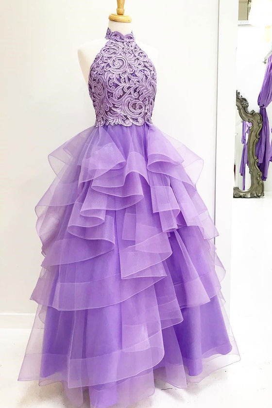 Purple high neck lace tulle long prom dress, purple evening dress