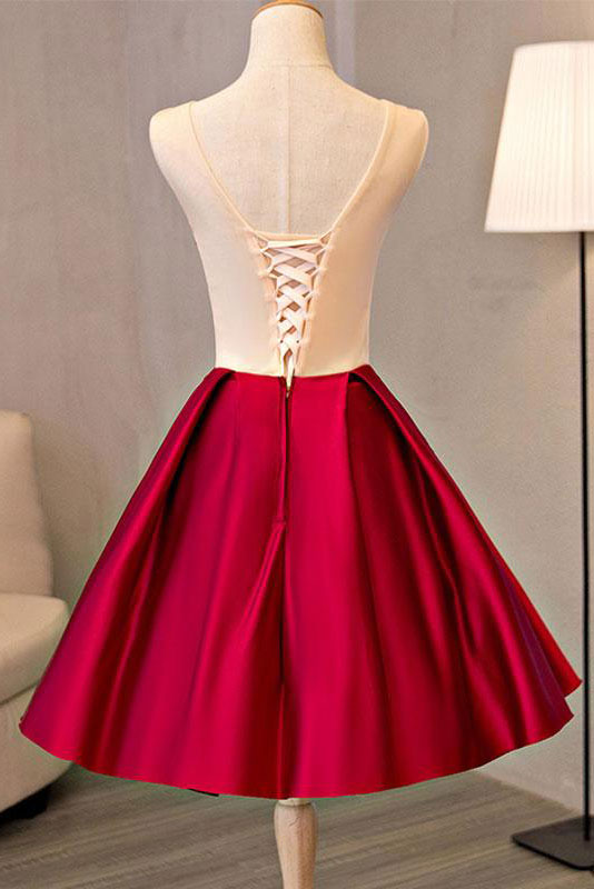 Burgundy lace applique short prom dress lace homecoming dress