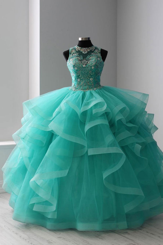 Green round neck tulle beads long prom dress, sweet 16 dress