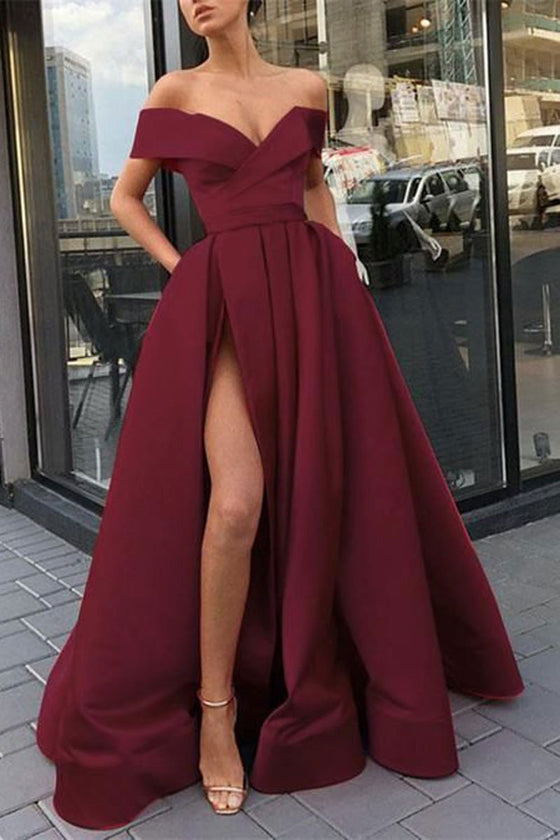 Burgundy v neck satin off shoulder long prom dress burgundy evening dress