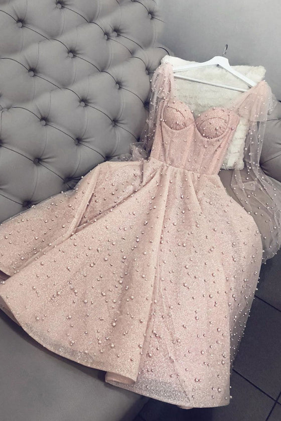 Pink sweetheart tulle beads tea length prom dress pink formal dress