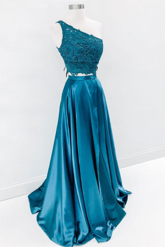 Green two pieces lace long prom dress, green evening dress