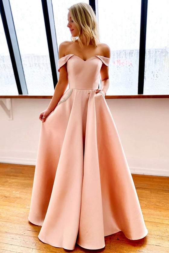 Pink off shoulder satin long prom dress pink evening dress