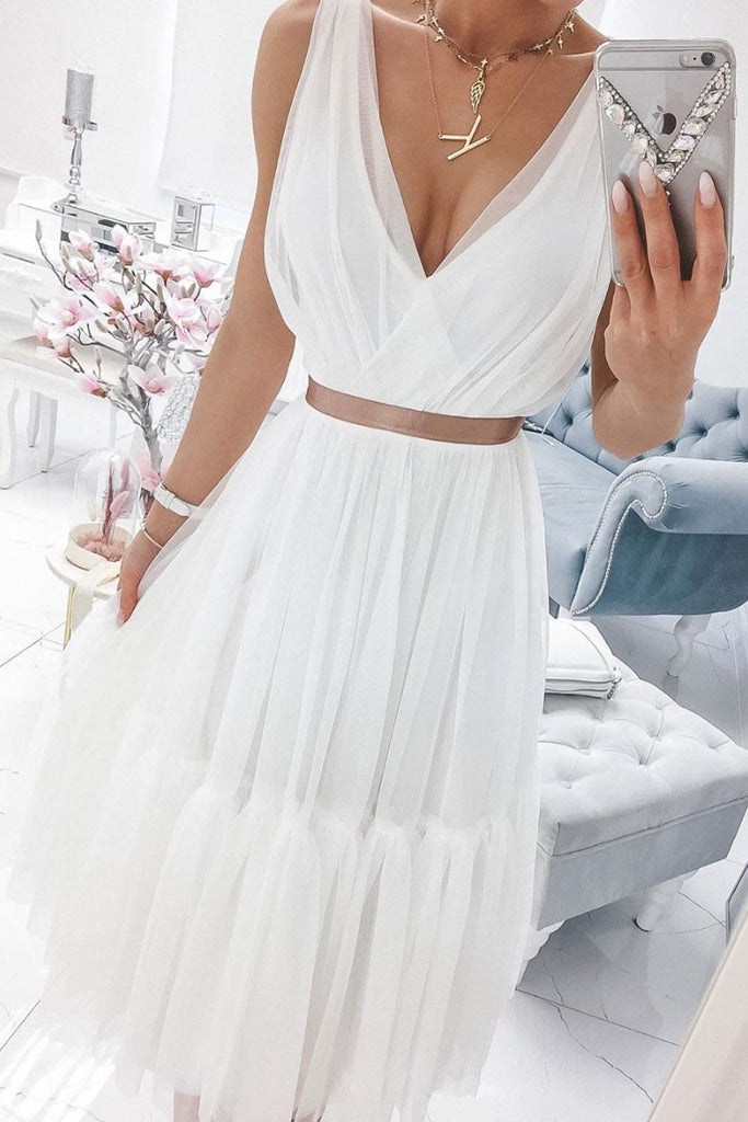 Simple white v neck chiffon prom dress white tulle formal dress