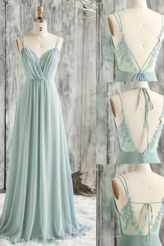 Simple green v neck chiffon lace long prom dress lace bridesmaid dress