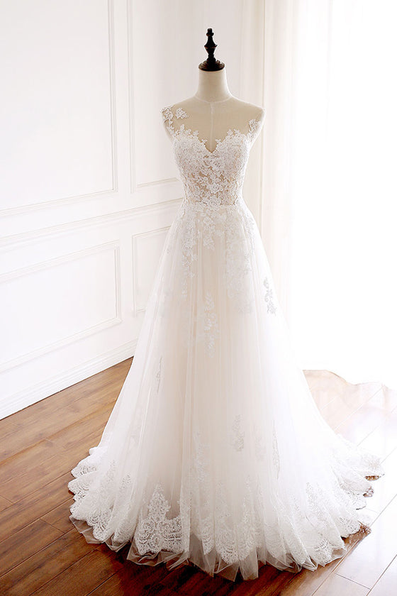 White round neck tulle lace long prom dress white tulle wedding dress