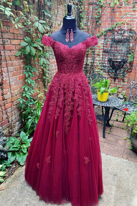 Burgundy off shoulder lace tulle long prom dress burgundy evening dress
