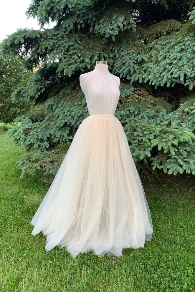 Light champagne tulle long prom dress champagne formal dress
