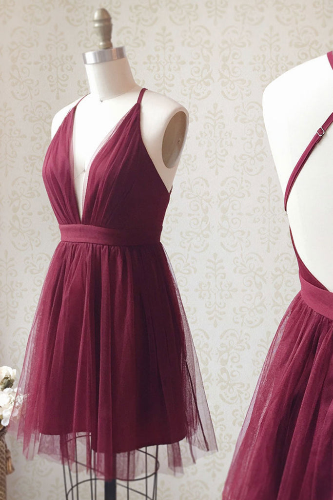 Simple v neck tulle short prom dress burgundy homecoming dress