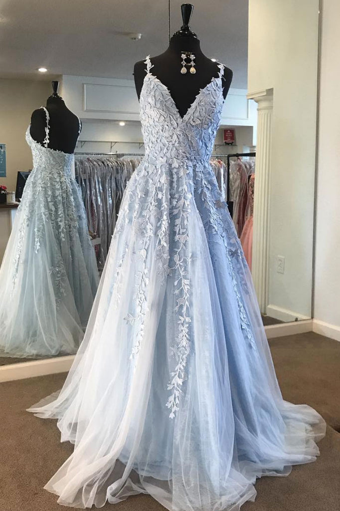 Light blue lace tulle long prom dress, blue formal dress