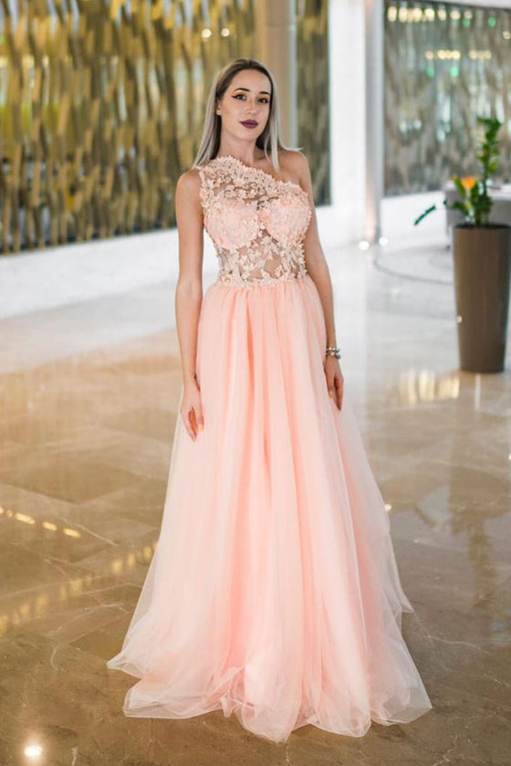 Pink one lace tulle long prom dress pink evening dress